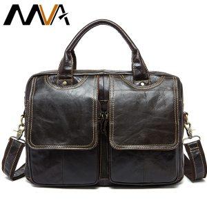 MVA men s bag briefcase leather office laptop bag for men s genuine leather bag business Innrech Market.com