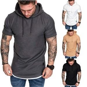 New Fashion Men Hoodies Short Sleeve Tee Solid Mens Casual Hooded Summer Male Fashion Top Plus Innrech Market.com