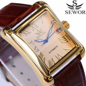New SEWOR Top Brand Luxury Rectangular Men Watches Automatic Mechanical Watch Roman Display Antique Clock Relogio Innrech Market.com