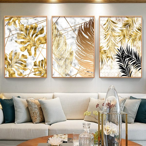 Nordic style Golden leaf canvas painting posters and print modern decor wall art pictures for living Nordic style Golden leaf canvas painting posters and print modern decor wall art pictures for living room bedroom dinning room