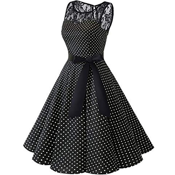 Sleeper 401 2018 Women Sleeveless Polka Dot Lace Hepburn Vintage Swing High Waist Pleated Dress solid 5 Sleeper #401 2018 Women Sleeveless Polka Dot Lace Hepburn Vintage Swing High-Waist Pleated Dress solid design hot Drop Shipping