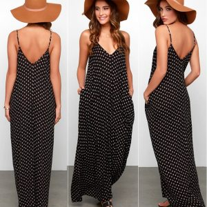 Women Black Summer Boho Dress Beach Wear Sleeveless Chiffon Strap Polka Dot Fashion Dress Ladies Long Innrech Market.com
