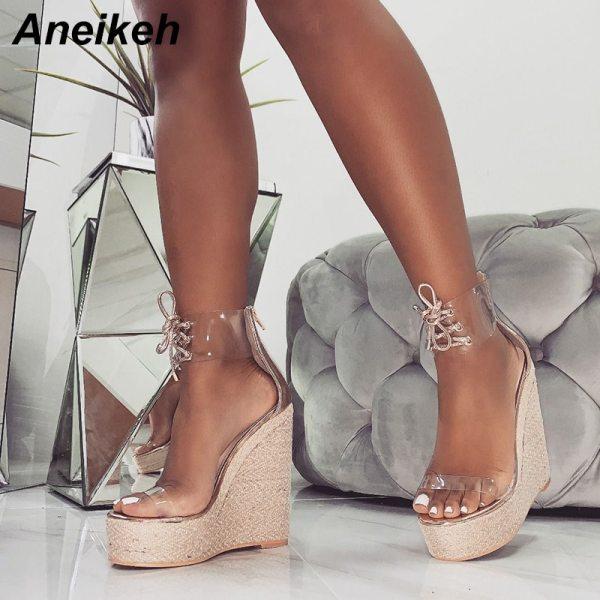 Aneikeh Fashion PVC Sandal Women Transparent Sandals Lace Up Wedges High Heels Black Gold Party Daily Aneikeh Fashion PVC Sandal Women Transparent Sandals Lace-Up Wedges High Heels Black Gold Party Daily Pumps Shoes Size 35-40