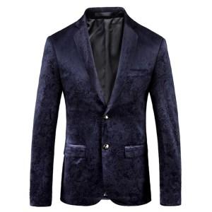 Blazer Men 2018 Blue Print Suit Jacket Men Blazer Homme Slim Fit Chaquetas Hombre De Vestir Innrech Market.com