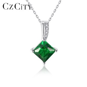 CZCITY Charm Chain Necklace Emerald Green Cubic Zirconia Popular Jewelry 925 Sterling Silver Pendant Necklace for Innrech Market.com