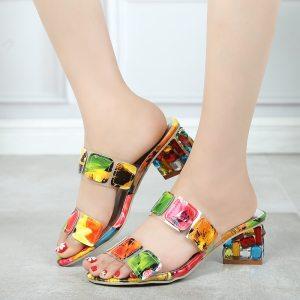 Lucyever 2019 Summer Women Multi Colors Sandals Fashion High Heels Open Toe Beach Flip Flops Ladies Innrech Market.com