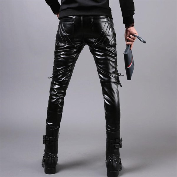 MORUANCLE New Winter Mens Skinny Biker Leather Pants Fashion Faux Leather Motorcycle Trousers For Male Stage 3 MORUANCLE New Winter Mens Skinny Biker Leather Pants Fashion Faux Leather Motorcycle Trousers For Male Stage Club Wear