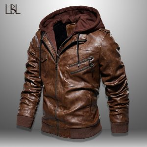 Mens PU Jackets Outwear Leather Hooded Biker Coat Men 2019 Cool Motorcycle Jacket Male Winter Autumn Innrech Market.com