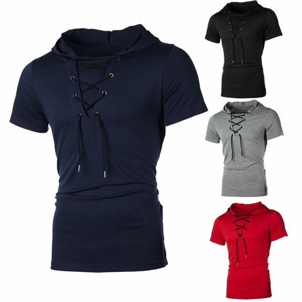 New Men Hoodies Short Sleeve Slim Solid Hip hop Fitness Workout Gym Hooded Tee Muscle Sweatshirts New Men Hoodies Short Sleeve Slim Solid Hip-hop Fitness Workout Gym Hooded Tee Muscle Sweatshirts arrival Summer Casual Top Hot