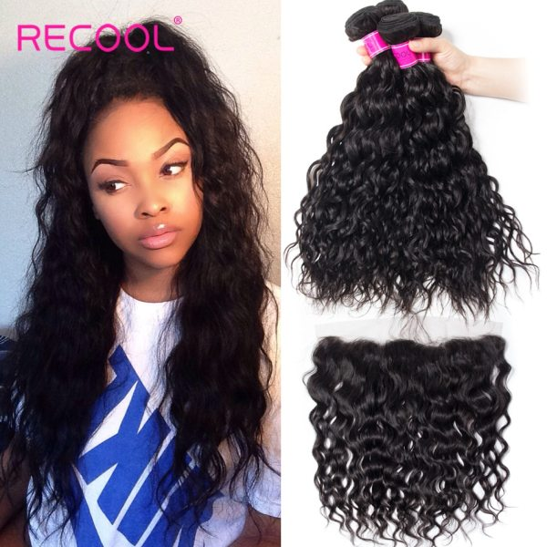 Recool Hair Brazilian Water Wave Bundles With Closure Remy Hair Lace Frontal With Bundles Deal Human Recool Hair Brazilian Water Wave Bundles With Closure Remy Hair Lace Frontal With Bundles Deal Human Hair Bundles With Frontal