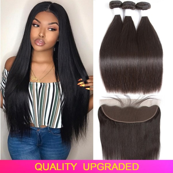 Tuneful Straight Human Hair 3 Bundles With Frontal Closure Malaysian Remy Hair Pre Plucked Lace Frontal Tuneful Straight Human Hair 3 Bundles With Frontal Closure Malaysian Remy Hair Pre Plucked Lace Frontal Closure With Bundles