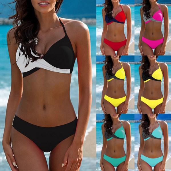 7 Colors Womens Padded Push up Bra Tankini Bikini Set 2019 Swimsuit Low Waist Bathing Suit 7 Colors Womens Padded Push-up Bra Tankini Bikini Set 2019 Swimsuit Low Waist Bathing Suit Swimwear Two Pieces Halter Beachwear