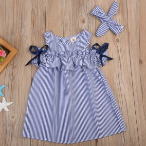 Hot 2018 New Summer Dress Toddler Kids Baby Girls Lovely Birthday Clothes Blue Striped Off shoulder Innrech Market.com