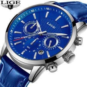 LIGE Fashion Mens Watches Top Brand Luuxury Blue Quartz Clock Male Casual Leather Waterproof Sport Chronograph Innrech Market.com