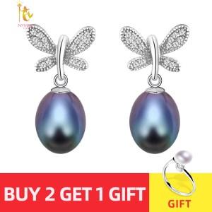 NYMPH natural pearl earrings fine Jewelry S925 sterling silver freshwater black pearl earrings trendy butterfly E1045 Innrech Market.com