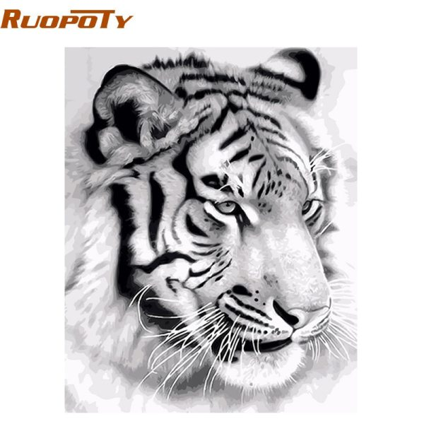 RUOPOTY Frame Tiger Animals DIY Painting By Numbers Wall Art Picture Acrylic Canvas Painting For Home RUOPOTY Frame Tiger Animals DIY Painting By Numbers Wall Art Picture Acrylic Canvas Painting For Home Decoration Drop Shipping