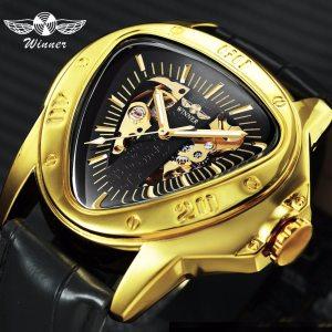 WINNER Official Sports Automatic Mechanical Men Watch Racing Triangle Skeleton Wristwatch Top Brand Luxury Golden Gift Innrech Market.com