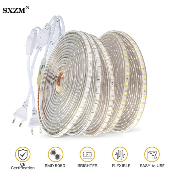 Waterproof SMD 5050 led tape AC220V flexible led strip 60 leds Meter outdoor garden lighting with Waterproof SMD 5050 led tape AC220V flexible led strip 60 leds/Meter outdoor garden lighting with EU plug светодиодная лента