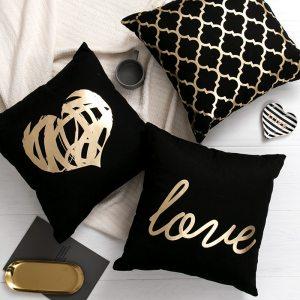 Black Golden Leaves Cushion Brozing Gold Foil Cushion Decorative Pillows Home Decor Throw Pillow Almofadas Decorativas Innrech Market.com