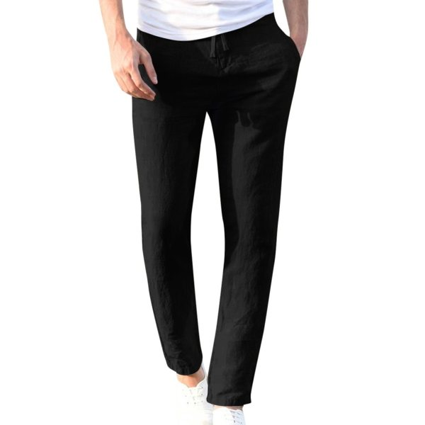 Feitong Fashion Cotton Linen Pants Men Casual Work Solid White Elastic Waist Streetwear Long Pants Trousers 1 Feitong Fashion Cotton Linen Pants Men Casual Work Solid White Elastic Waist Streetwear Long Pants Trousers
