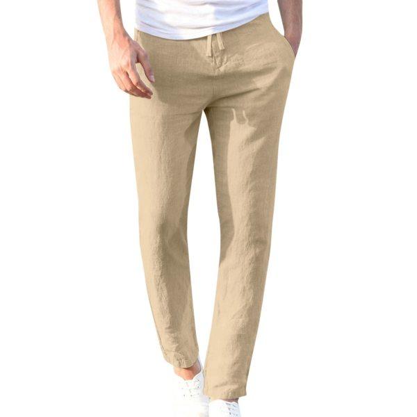 Feitong Fashion Cotton Linen Pants Men Casual Work Solid White Elastic Waist Streetwear Long Pants Trousers 2 Feitong Fashion Cotton Linen Pants Men Casual Work Solid White Elastic Waist Streetwear Long Pants Trousers