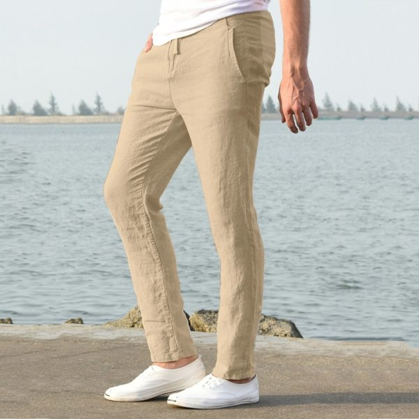 Feitong Fashion Cotton Linen Pants Men Casual Work Solid White Elastic Waist Streetwear Long Pants Trousers 4 Feitong Fashion Cotton Linen Pants Men Casual Work Solid White Elastic Waist Streetwear Long Pants Trousers