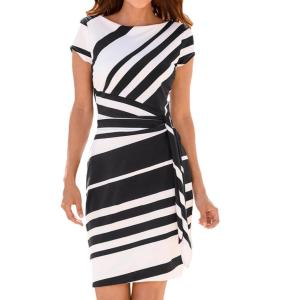 KANCOOLD dress Summer fashion Women s Working Pencil Stripe Party Casual O Neck Mini high quality Innrech Market.com