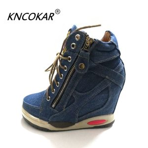 KNCOKA Summer New Women s Comfortable Wedge Heels With Stylish And Simple Denim Canvas Single Shoes Innrech Market.com