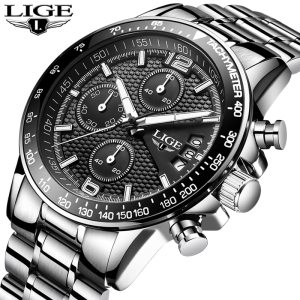 LIGE New Mens Watches Top Brand Luxury Stopwatch Sport waterproof Quartz Watch Man Fashion Business Clock Innrech Market.com