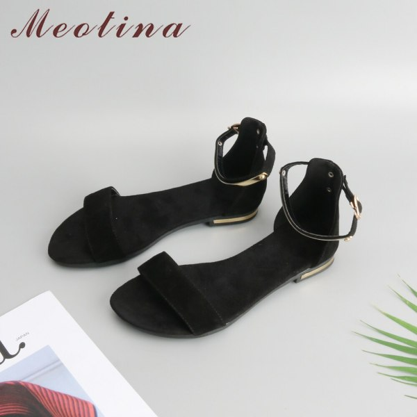 Meotina Genuine Leather Women Sandals Chunky Heels Summer Shoes 2019 Peep Toe Suede Shoes Black Buckle 2 Meotina Genuine Leather Women Sandals Chunky Heels Summer Shoes 2019 Peep Toe Suede Shoes Black Buckle Bling Big Size 33-46 11