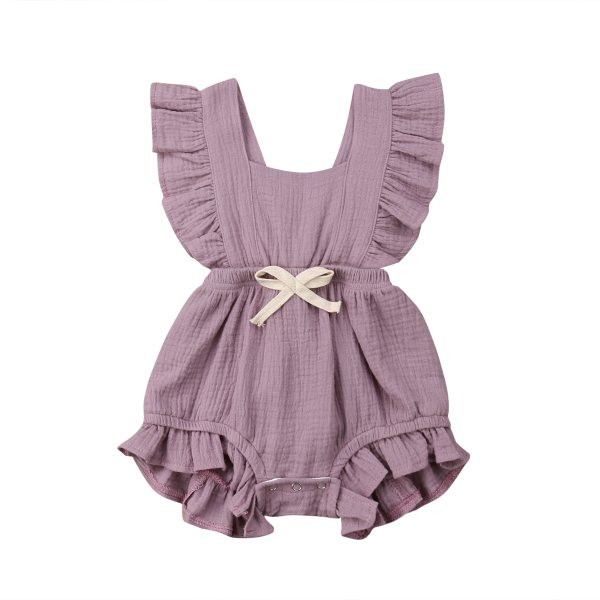 Newborn Baby Girls Ruffle Solid Color Romper Backcross Jumpsuit Outfits Sunsuit Baby Clothing 4 Newborn Baby Girls Ruffle Solid Color Romper Backcross Jumpsuit Outfits Sunsuit Baby Clothing