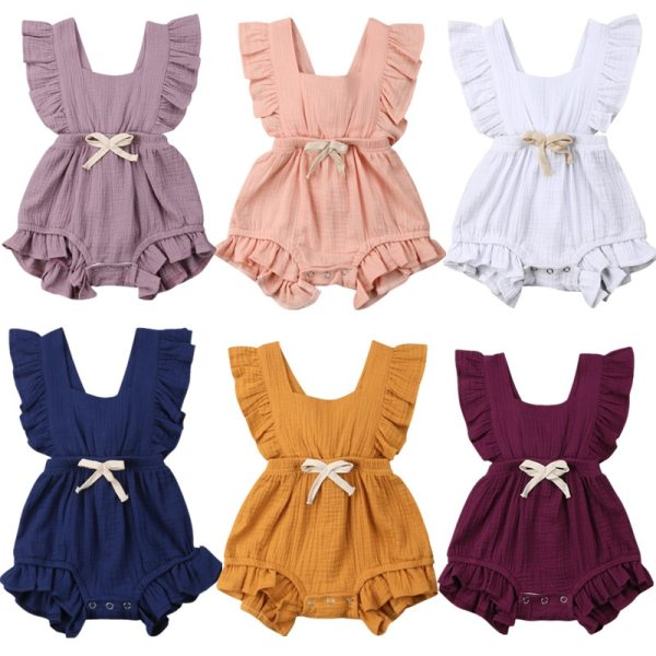 Newborn Baby Girls Ruffle Solid Color Romper Backcross Jumpsuit Outfits Sunsuit Baby Clothing Newborn Baby Girls Ruffle Solid Color Romper Backcross Jumpsuit Outfits Sunsuit Baby Clothing