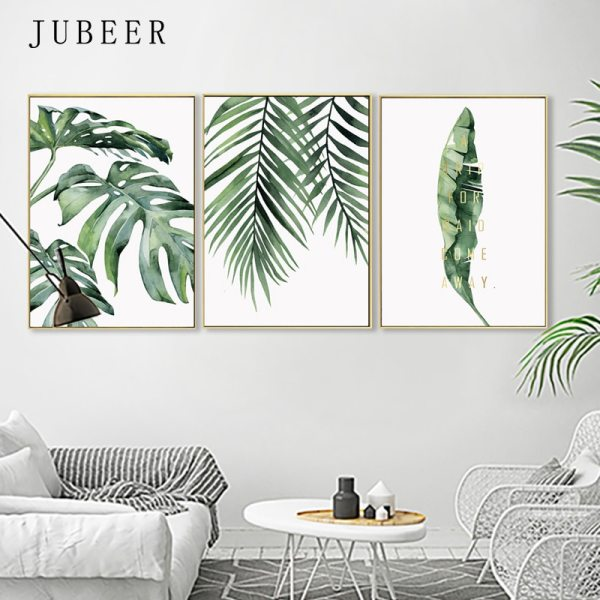 Scandinavian Style Tropical Plants Poster Green Leaves Decorative Picture Modern Wall Art Paintings for Living Room 2 Scandinavian Style Tropical Plants Poster Green Leaves Decorative Picture Modern Wall Art Paintings for Living Room Home Decor