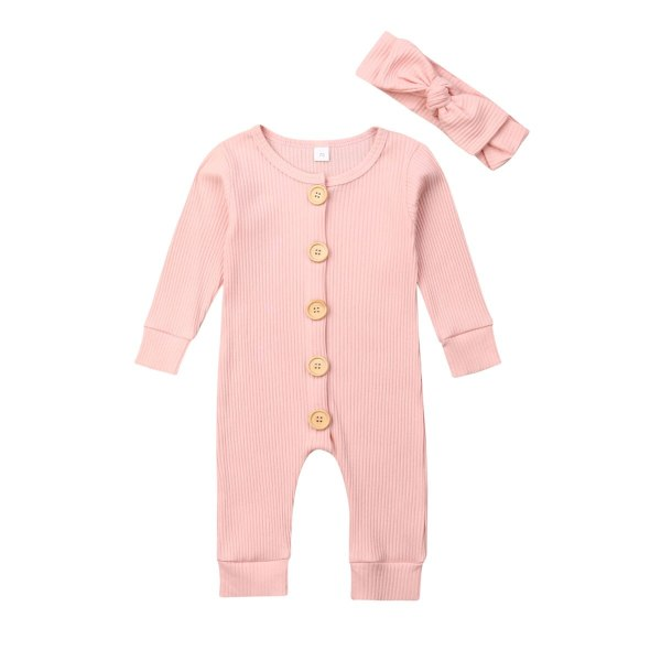Spring Fall Newborn Baby Girl Boy Clothes Long Sleeve Knitted Romper Headband Jumpsuit 2PCS Outfit 0 2 Spring Fall Newborn Baby Girl Boy Clothes Long Sleeve Knitted Romper + Headband Jumpsuit 2PCS Outfit 0-24M