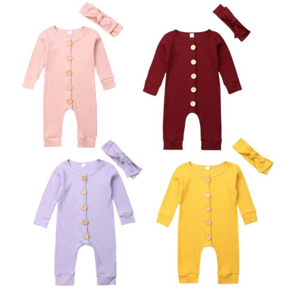 Spring Fall Newborn Baby Girl Boy Clothes Long Sleeve Knitted Romper Headband Jumpsuit 2PCS Outfit 0 Spring Fall Newborn Baby Girl Boy Clothes Long Sleeve Knitted Romper + Headband Jumpsuit 2PCS Outfit 0-24M