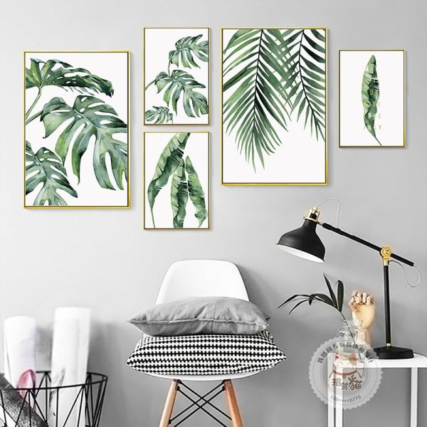 Watercolor Plant Green Leaves Canvas Painting Art Print Poster Picture Wall Modern Minimalist Bedroom Living Room 2 Watercolor Plant Green Leaves Canvas Painting Art Print Poster Picture Wall Modern Minimalist Bedroom Living Room Decoration