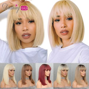 613 Short Cut 13X4 Bob Lace Front Human Hair Wig with Bangs Honey Blonde Color Transparent Innrech Market.com