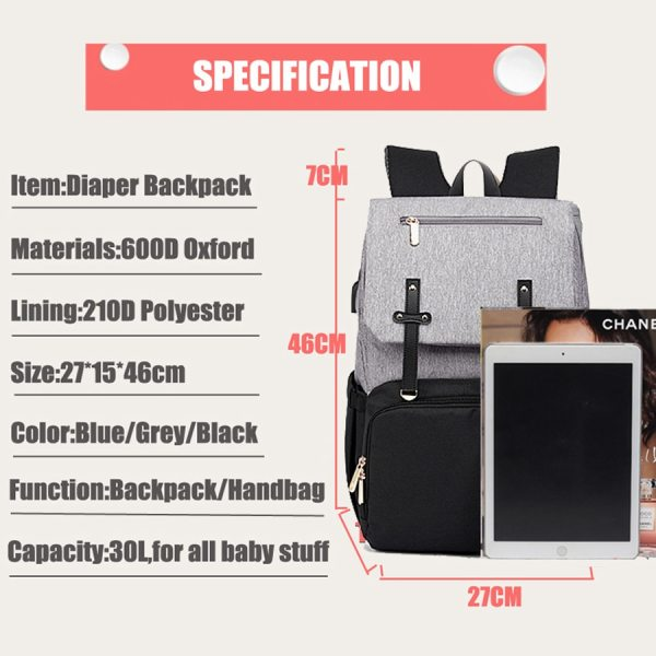 Baby Diaper Bag with USB Port Waterproof Nappy Bag Mommy Backpack Laptop Bag Maternity Bags With 5 Baby Diaper Bag with USB Port Waterproof Nappy Bag Mommy Backpack Laptop Bag Maternity Bags With Rechargeable Bottle Holder