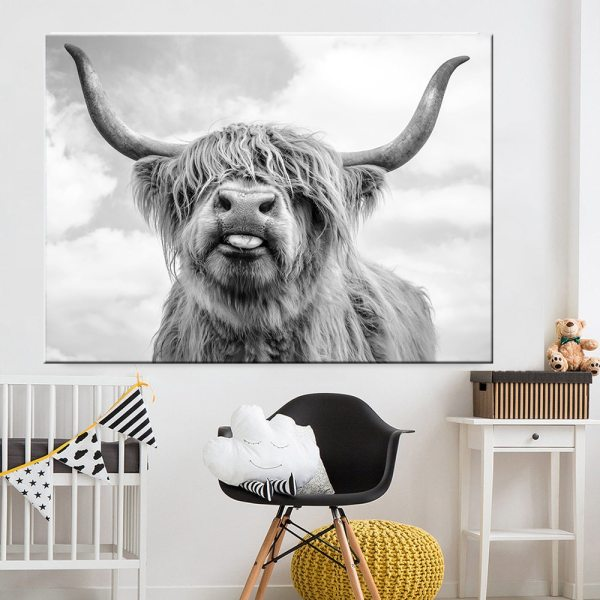 Black and White Highland Cow Cattle Wall Canvas Art Nordic Painting Poster and Print Scandinavian Wall Black and White Highland Cow Cattle Wall Canvas Art Nordic Painting Poster and Print Scandinavian Wall Picture for Living Room