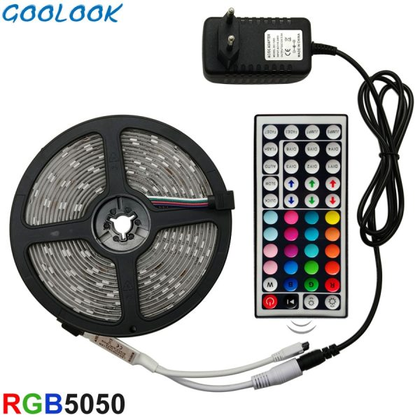 LED Strip Light RGB 5050 SMD 2835 Flexible Ribbon fita led light strip RGB 5M 10M LED Strip Light RGB 5050 SMD 2835 Flexible Ribbon fita led light strip RGB 5M 10M 15M Tape Diode DC 12V+ Remote Control +Adapter