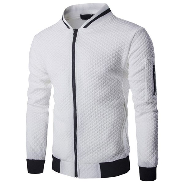 Laamei Men s Veste Homme Argyle Zipper Jacket Casual Jacket 2019 Autumn New Trend White Fashion Laamei Men's Veste Homme   Argyle Zipper Jacket Casual Jacket 2019 Autumn New Trend White Fashion Men's Jackets Clothes