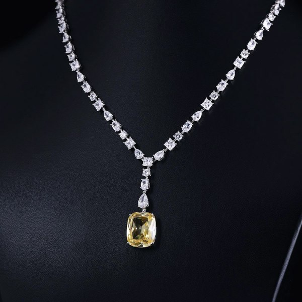 Luxury brilliant Yellow and Clear zirconia waterdrop and cirrus fashion style wedding bridal earring necklace jewelry 4 Luxury brilliant Yellow and Clear zirconia waterdrop and cirrus fashion style wedding bridal earring necklace jewelry sets