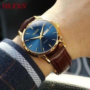Mens Watches Top Brand Luxury OLEVS Fashion Watch Men Leather Quartz Watch For Male Auto Date Innrech Market.com