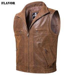 Mew Men s Leather Retro Vest Stand Collar Men s Motorcycle Casual Vest Innrech Market.com
