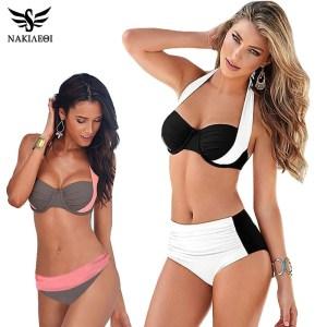 NAKIAEOI 2019 New Sexy Bikinis Women Swimsuit High Waisted Bathing Suits Swim Halter Push Up Bikini Innrech Market.com