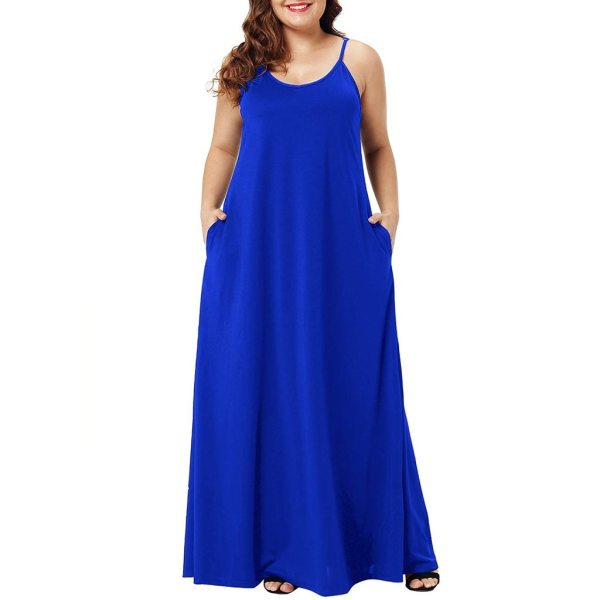 Plus Size Dress Women Summer Solid Maxi Dresses Sexy Spaghetti Straps Sleeveless Loose Long Dress With Plus Size Dress Women Summer Solid Maxi Dresses Sexy Spaghetti Straps Sleeveless Loose Long Dress With Pockets Casual Vestidos