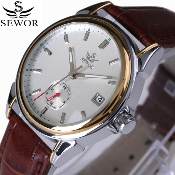 SEWOR Top Brand Fashion Design 4 Hands luxury Men Watches Leather Strap Stainless Steel Bezel Automatic SEWOR Top Brand Fashion Design 4 Hands luxury Men Watches Leather Strap Stainless Steel Bezel Automatic Mechanical Watch 2017