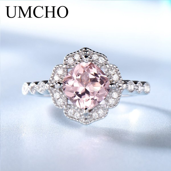 UMCHO Solid Sterling Silver Cushion Morganite Rings for Women Engagement Anniversary Band Pink Gemstone Valentine s 1 UMCHO Solid Sterling Silver Cushion Morganite Rings for Women Engagement Anniversary Band Pink Gemstone Valentine's Gift