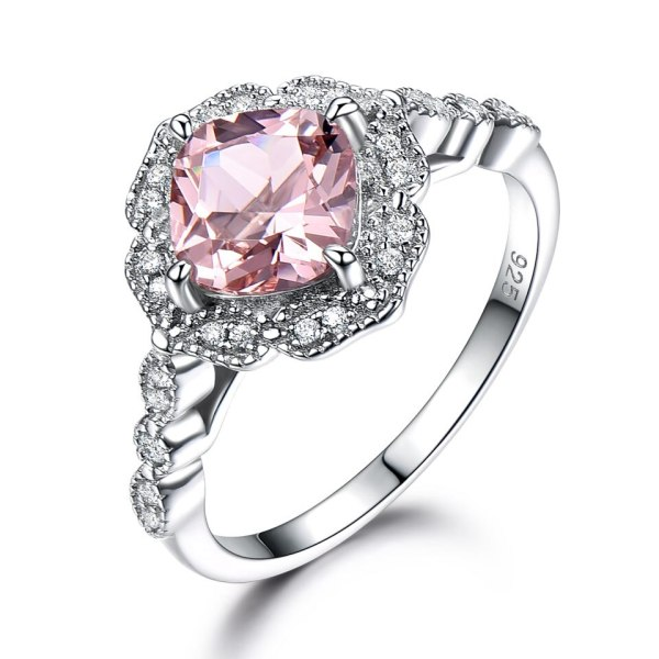 UMCHO Solid Sterling Silver Cushion Morganite Rings for Women Engagement Anniversary Band Pink Gemstone Valentine s 2 UMCHO Solid Sterling Silver Cushion Morganite Rings for Women Engagement Anniversary Band Pink Gemstone Valentine's Gift