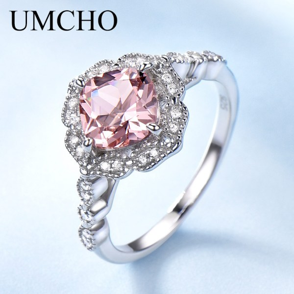 UMCHO Solid Sterling Silver Cushion Morganite Rings for Women Engagement Anniversary Band Pink Gemstone Valentine s UMCHO Solid Sterling Silver Cushion Morganite Rings for Women Engagement Anniversary Band Pink Gemstone Valentine's Gift